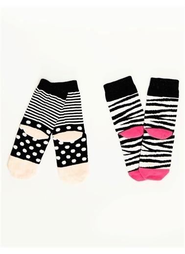 Denokids Zebracorn Kız Soket Çorap Pembe